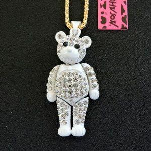 NWT🐻 Betsey Johnson Enamel& Crystal Bear Necklace